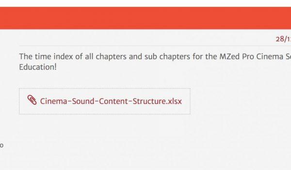 MZed Pro Cinema Sound Time Index Arrived!