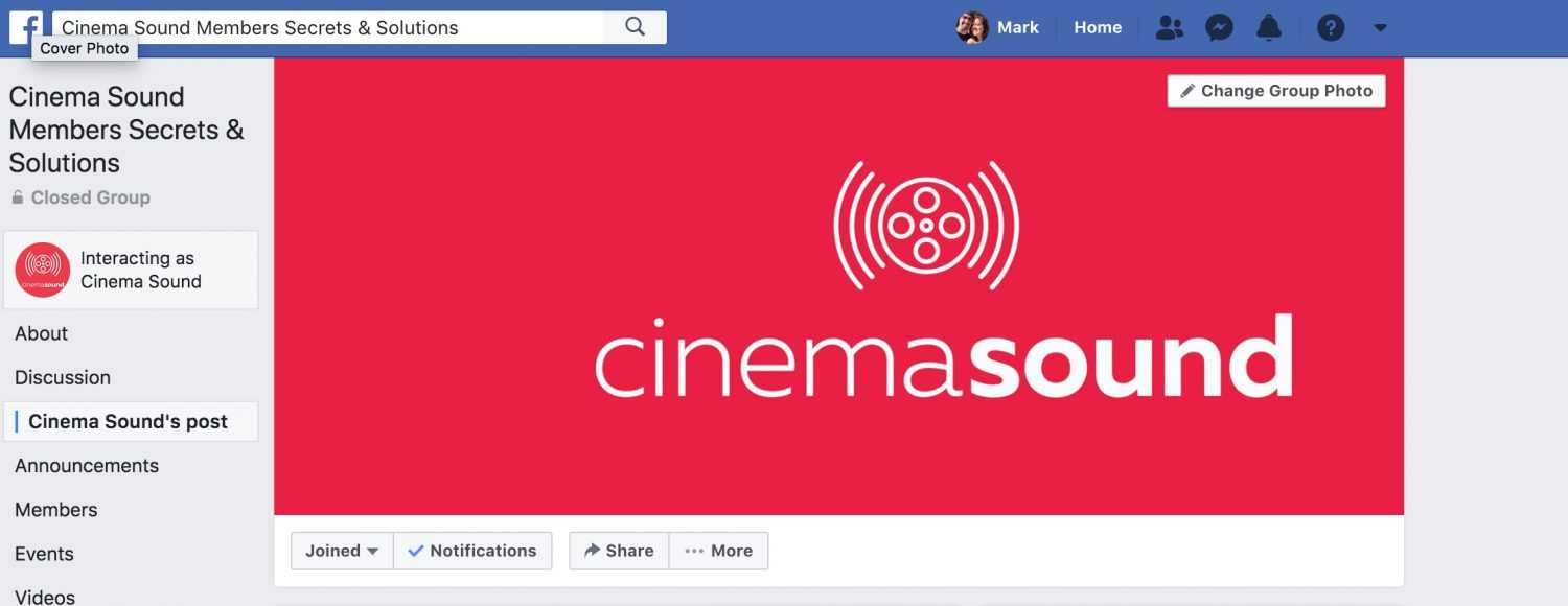 Join the Cinema Sound Private Facebook Group