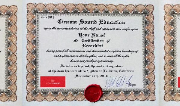 Cinema Sound Certification has Arrived!