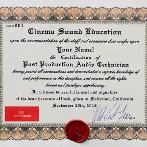Cinema Sound Post Audio Technician Certification