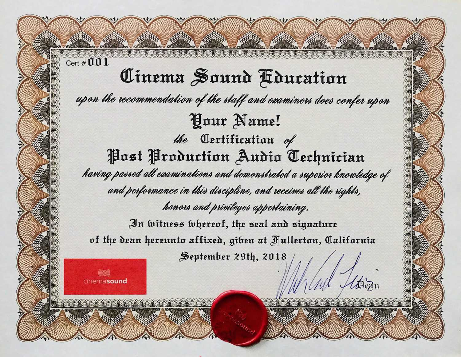 Cinema Sound Post Audio Technician Certification Cinema Sound