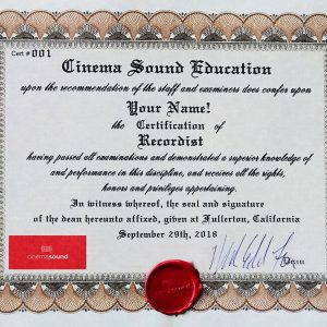 Cinema Sound Recordist Certification