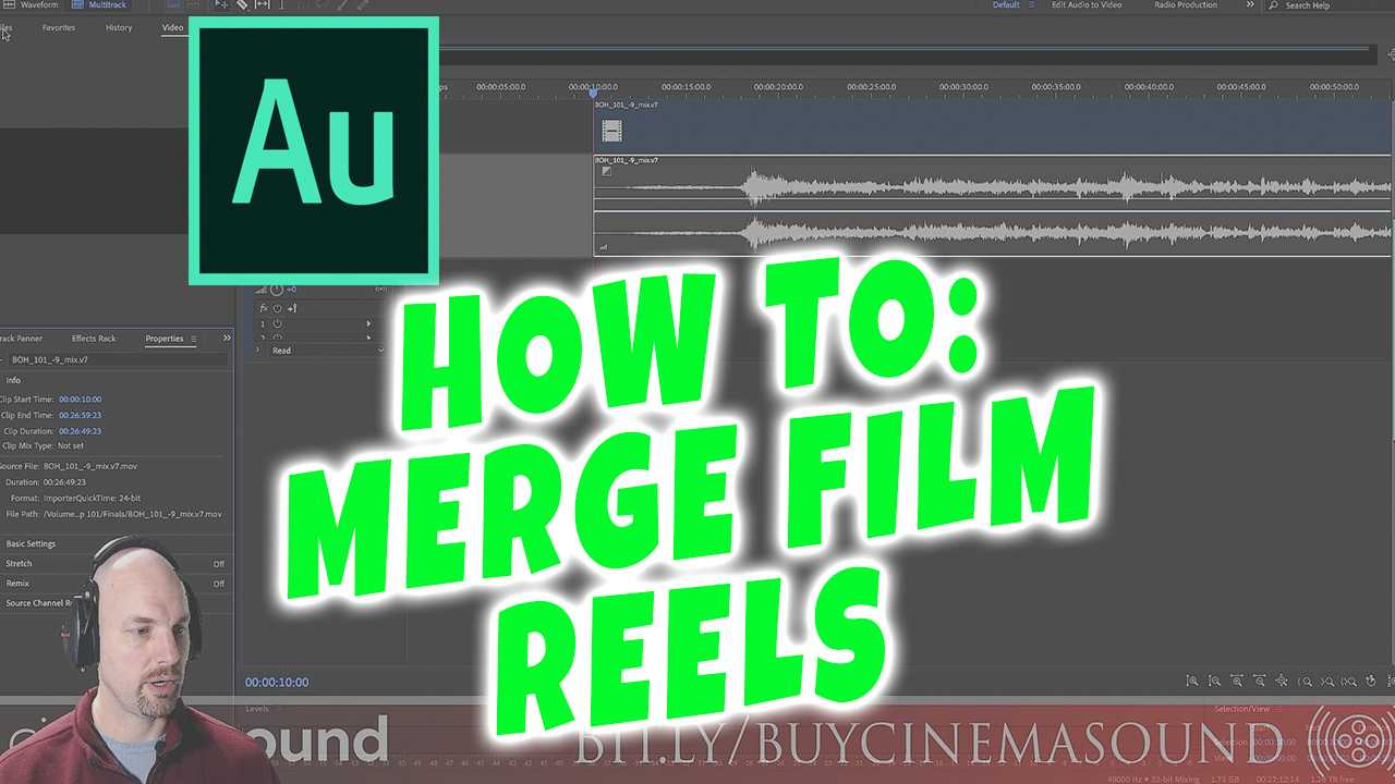 Adobe Audition How To: Merge Film Reels